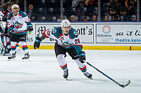 KELOWNA, CANADA - JANUARY 26:  Leif Mattson #28 of the Kelowna Rockets skates against the Vancouver Giantson January 26, 2019 at Prospera Place in Kelowna, British Columbia, Canada.  (Photo by Marissa Baecker/Shoot the Breeze)