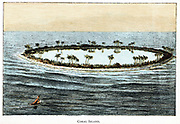 Coral reef surrounding a lagoon. Slow accumulation of substance from generations of corals was a phenomenon which Darwin used to support they theory of a long geological timescale. Chromolithograph from popular geology book, 1892.