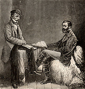In the Crimea'.  John Sutherland (1808-1891) British physician and sanitary reformer, left, and Robert Rawlinson (1810-1898) British civil engineer and sanitarian, in the Crimean in 1855, members of the commission sent by the British government to improve sanitation in military hospital and camps. Crimean (Russo-Turkish) War 1853-1856. Engraving from 'The Strand Magazine' (London, 1893).