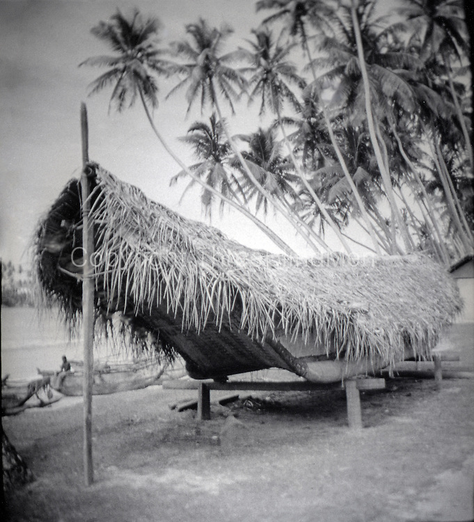 Ceylon. Sri Lanka. Boat.<br /> Covered with cadjan for the monsoon period.<br /> early 1970's