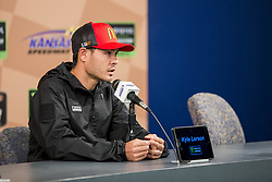 October 19, 2018 - Kansas City, Kansas, United States of America - Kyle Larson (42) speaks to the media prior to practice for the Hollywood Casino 400 at Kansas Speedway in Kansas City, Kansas. (Credit Image: © Justin R. Noe Asp Inc/ASP via ZUMA Wire)