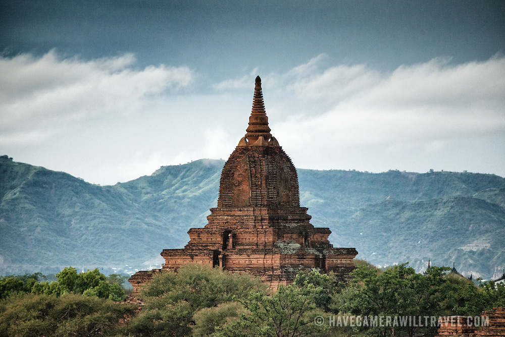 One of the thousands of pagodas and stupa on the plan of Bagan in Myanmar (Burma). This one is in the northwest corner of the Bagan Archeological Zone and are seen from Shegy Gyi Phaya.
