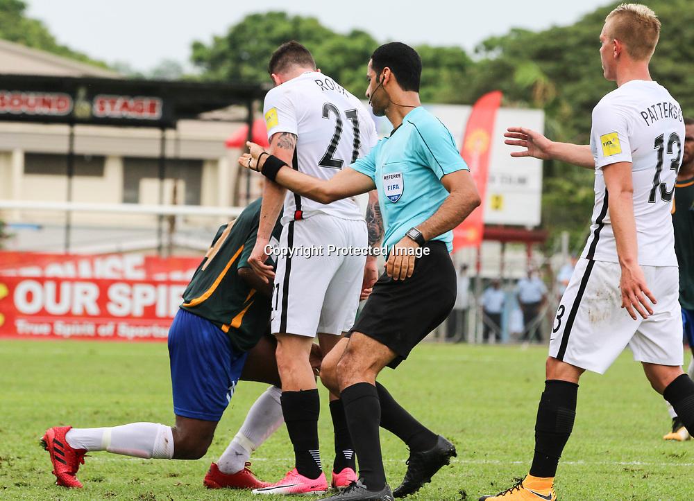 Storm Roux confronts Clifton Aumae.<br /> Fifa World Cup Qualifier, Solomon Islands v New Zealand All Whites, Lawson Tama Stadium, Honiara, Solomon Islands, 5 September 2017. Photo: OFC Media / www.photosport.nz