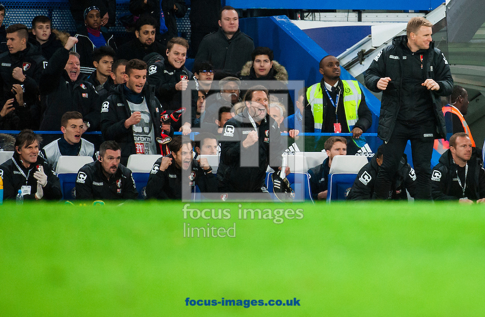 AFC Bournemouth manager Eddie Howe reacts at the final whistle during the Barclays Premier League match at Stamford Bridge, London<br /> Picture by Jack Megaw/Focus Images Ltd +44 7481 764811<br /> 05/12/2015