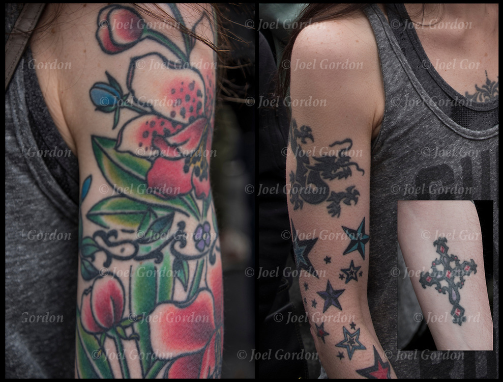 Flower tattoo sleeve on her shoulder and down her left arm.<br />
