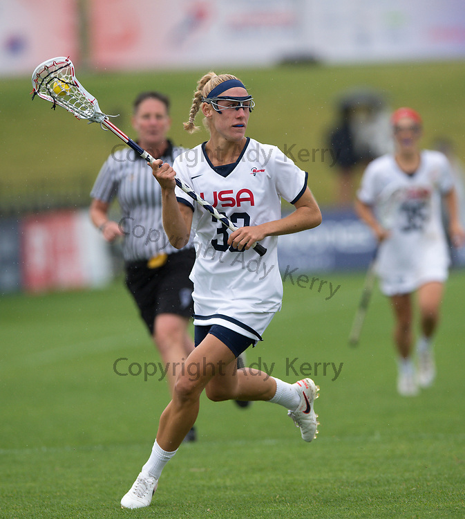 USA Becky Block against Canada at the 2017 FIL Rathbones Women's Lacrosse World Cup, at Surrey Sports Park, Guildford, Surrey, UK, 22nd July 2017.