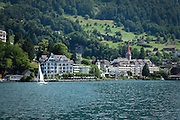 The town of Weggis on Lake Lucerne, near Lucerne, Switzerland.