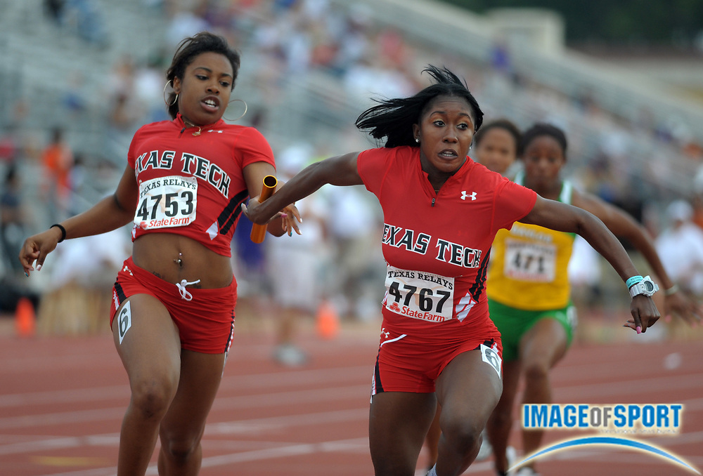Mar 30, 2012; Austin, TX, USA; Candace Jackson takes the handoff from Erica Alexander on the third leg of the Texas Tech womens 4 x 100m relay that won its heat in 44.88 in the 85th Clyde Littlefield Texas Relays at Mike A. Myers Stadium.