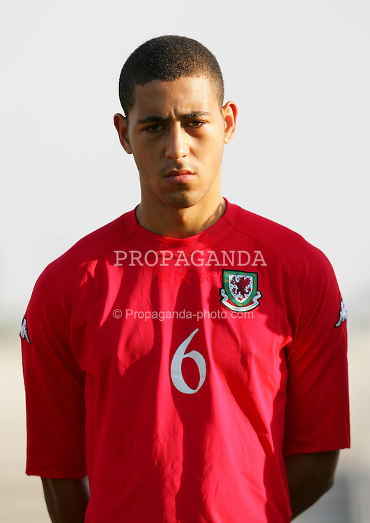 PAPHOS, CYPRUS - TUESDAY, NOVEMBER 15th, 2005: Wales' Lewin Nyatanga lines-up to face Cyprus during the Under-21 International Friendly match at the Paphiako Stadium. (Pic by David Rawcliffe/Propaganda)