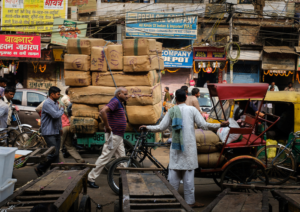 NEW DELHI, INDIA - CIRCA OCTOBER 2016: Street around the spice market and the Chandni Chowk area in Old Delhi.