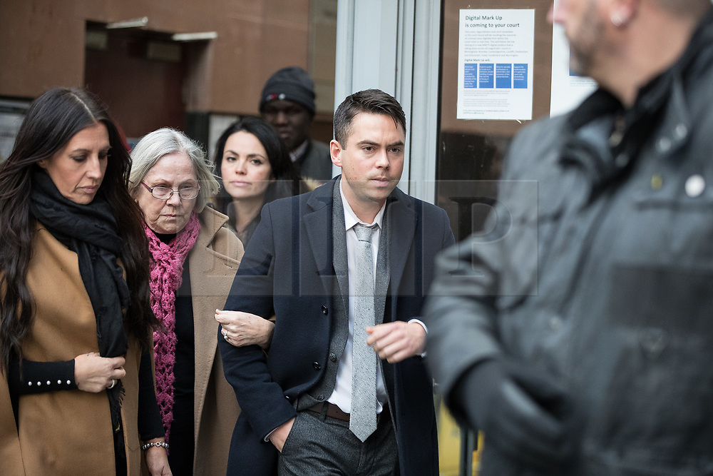 © Licensed to London News Pictures . 28/11/2017. Manchester, UK. Coronation Street actor BRUNO LANGLEY leaves Manchester Magistrates' Court after admitting to three charges of sexual assault and being convicted and sentenced . Two different women contacted police to report being assaulted at a music venue on Swan Street in the Northern Quarter of Manchester City Centre , in the early hours of Sunday 1st October 2017 . Langley plays the role of Todd Grimshaw in the soap opera . ITV terminated his contract in October , following an internal investigation in to the allegations . Photo credit: Joel Goodman/LNP