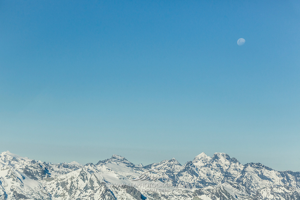 Moonrise over the Southern Alps, Fiordland, New Zealand