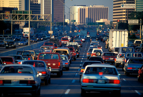 Houston city traffic backing up at rush hour
