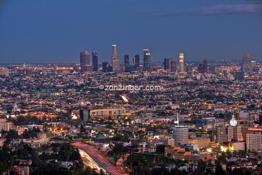 Los Angeles CA, Twilight, Dusk, Night, magic Hour,  Skyline, Hollywood, Capitol Records, High dynamic range imaging (HDRI or HDR)