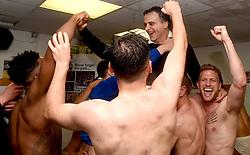 Bristol Rovers players celebrate promotion form Sky Bet League 2 to Sky Bet League 1 with Club President Wael al Qadi  - Mandatory by-line: Joe Meredith/JMP - 07/05/2016 - FOOTBALL - Memorial Stadium - Bristol, England - Bristol Rovers v Dagenham and Redbridge - Sky Bet League Two