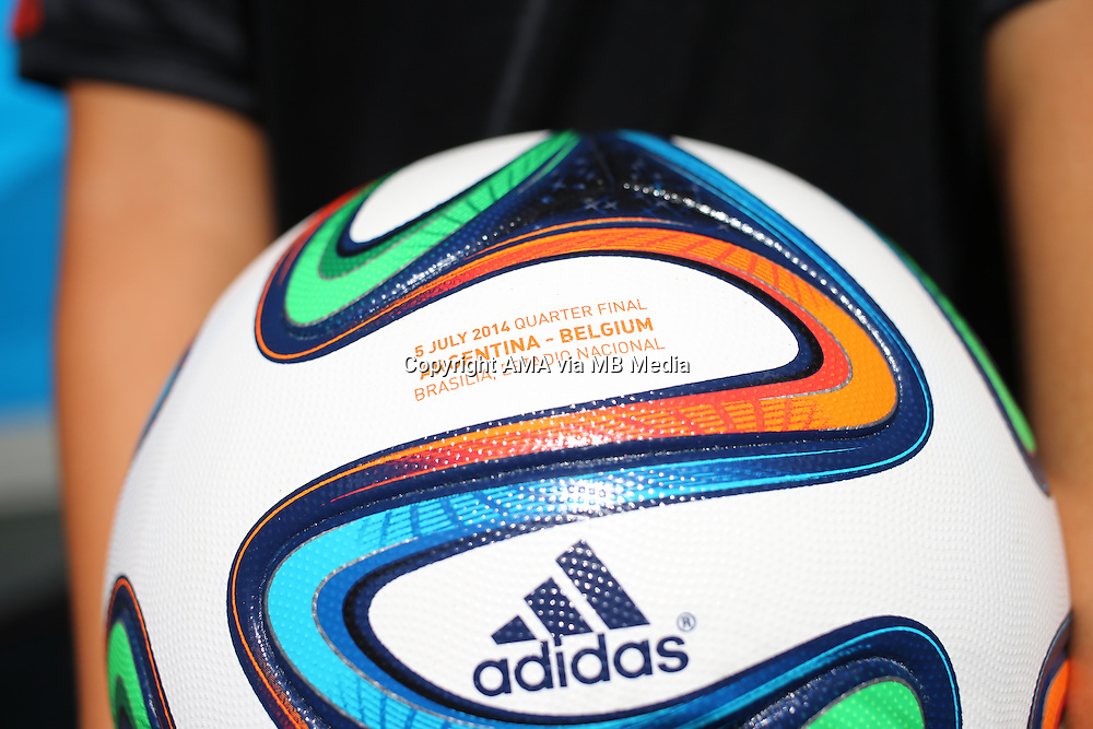 The Adidas BRAZUCA FIFA 2014 World Cup official match ball personalised for this match