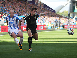 Aaron Mooy of Huddersfield Town (L) and Ben Chilwell of Leicester City in action - Mandatory by-line: Jack Phillips/JMP - 16/09/2017 - FOOTBALL - The John Smith's Stadium - Huddersfield, England - Huddersfield Town v Leicester City - English Premier League