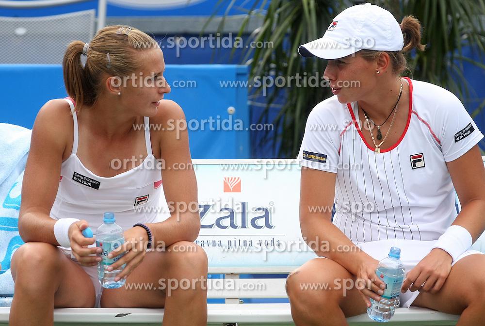 Polona Hercog of Slovenia and Marina Erakovic of New Zeland  in Doubles at 3rd Round of Banka Koper Slovenia Open 2008, on July 23, 2008, Portoroz - Portorose, Slovenia. (Photo by Vid Ponikvar / Sportal Images)...