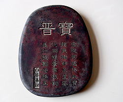 April 26, 2018 - Shangqiu, Shangqiu, China - Shangqiu, CHINA-26th April 2018: Li Dejun, a 68-year-old collector of ancient inkstones, showes more than 200 inkstones he collected in the past 50 years in Shangqiu, central China's Henan Province, April 26th, 2018. (Credit Image: © SIPA Asia via ZUMA Wire)