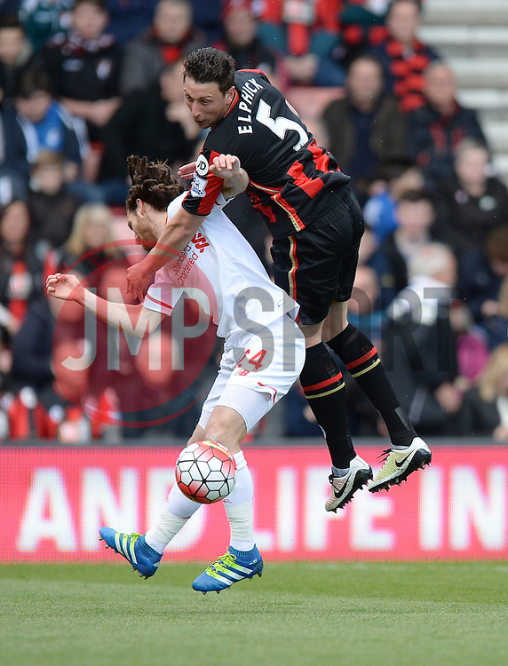 Tommy Elphick of Bournemouth wins a high ball over Joe Allen of Liverpool - Mandatory by-line: Alex James/JMP - 17/04/2016 - FOOTBALL - Vitality Stadium - Bournemouth, England - AFC Bournemouth v Liverpool - Barclays Premier League