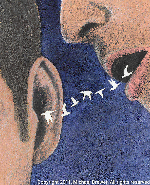Illustration of someone whispering in another's ear and white birds are flying from the mouth into the ear.