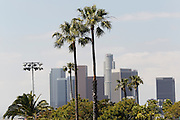 LOS ANGELES, CA - MAY 27:  Palm trees and downtown skyscrapers frame the background along with parking lot lights prior to the Los Angeles Dodgers game against the Houston Astros on Sunday, May 27, 2012 at Dodger Stadium in Los Angeles, California. The Dodgers won the game 5-1. (Photo by Paul Spinelli/MLB Photos via Getty Images)