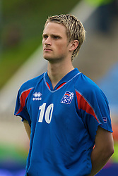 REYKJAVIK, ICELAND - Wednesday, May 28, 2008: Iceland's Gunnar Heidar Thorvaldsson lines-up before the international friendly match against Wales at the Laugardalsvollur Stadium. (Photo by David Rawcliffe/Propaganda)