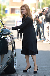 Pictured is Sarah, Duchess of York arriving.<br /> Friends and family arrive at St Mary Magdalene and St Lawrence church in the village of Davington, Kent, to the funeral of Peaches Geldof.<br /> Monday, 21st April 2014. Picture by Ben Stevens / i-Images
