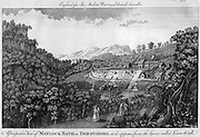Matlock Spa, Derbyshire, England. From a copperplate print published in the latter part of the 18th century when it became fashionable to 'Take the waters'.