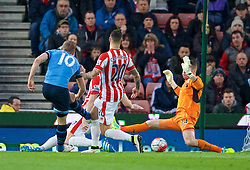 STOKE-ON-TRENT, ENGLAND - Monday, April 18, 2016: Tottenham Hotspur's Harry Kane sees his shot saved by Stoke City's goalkeeper Shay Given during the FA Premier League match at the Britannia Stadium. (Pic by David Rawcliffe/Propaganda)