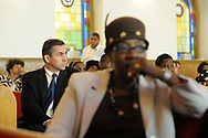 10/17/10 12:23:50 PM -- Darby, PA<br />  -- Democratic Congressional candidate Bryan Lentz campaigns October 17, 2010 at a First Baptist Church in Darby, Pennsylvania. Bryan Lentz  faces Republican Pat Meehan  in the Nov. 2 general election.   --  Photo by William Thomas Cain/Cain Images
