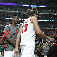 24 March 2012: Chicago Bulls center Joakim Noah (13) is ejected during the second period of Chicago Bulls vs the Toronto Raptors at the United Center, Chicago, Illinois, USA.