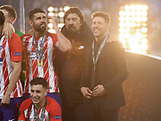 Diego Simeone celebrates during the Europa League Final match between Olympique de Marseille and Atletico Madrid at Orange Velodrome, Marseille, France on 16 May 2018. Picture by Ahmad Morra.