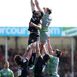 Don Armand of Exeter Chiefs competes for line out ball with Calum Green of Newcastle Falcons