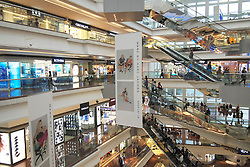 Interior of Festival Walk  shopping mall in Hong Kong