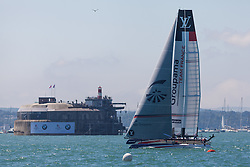 © Licensed to London News Pictures. 23/07/2016. Portsmouth, United Kingdom.  Team France Groupama competing in the first day of racing for the America's Cup World Series (ACWS) in Portsmouth this weekend, 22nd-24th July 2016. British Olympic sailing legend, Sir Ben Ainslie, is leading his all-British team, Land Rover BAR, against other teams in a battle to qualify for a place in the two team America's Cup final, to be held in Bermuda in 2017. Photo credit: Rob Arnold/LNP