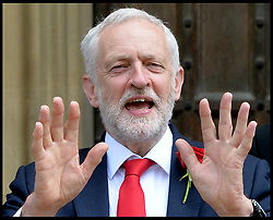 June 13, 2017 - London, United Kingdom - Leader of the Labour Party JEREMY CORBYN  stands outside the House of Commons where he met with his newly elected Scottish MP's. (Credit Image: © Andrew Parsons/i-Images via ZUMA Press)