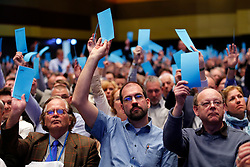 30.04.2016, Messe, Stuttgart, GER, 5. Bundesparteitag der AfD, im Bild Abstimmung bei der AFD // during the 5th party convention of the Alternative for Germany (AfD) at the Messe in Stuttgart, Germany on 2016/04/30. EXPA Pictures © 2016, PhotoCredit: EXPA/ Sammy Minkoff<br /> <br /> *****ATTENTION - OUT of GER*****