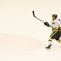 5th year forward Cody Fowlie (27) of the Regina Cougars in action during the Men's Hockey home game on February 3 at Co-operators arena. Credit: Arthur Ward/Arthur Images