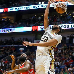 Mar 17, 2018; New Orleans, LA, USA; New Orleans Pelicans forward Anthony Davis (23) dunks over Houston Rockets guard James Harden (13) during the second half at the Smoothie King Center. The Rockets defeated the Pelicans 107-101. Mandatory Credit: Derick E. Hingle-USA TODAY Sports