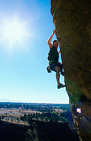 Man rock climbing at Smith Rock State Park Oregon USA&#xA;<br />