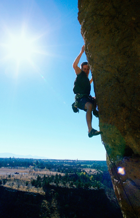 Man rock climbing at Smith Rock State Park Oregon USA&amp;#xA;<br />
