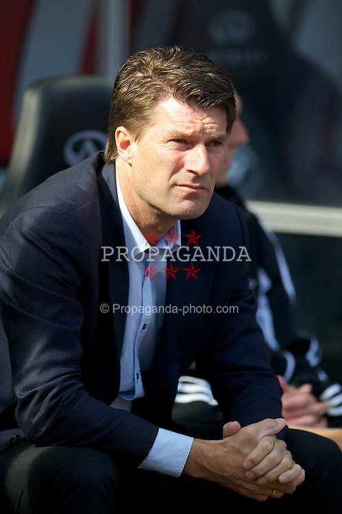 SWANSEA, WALES - Saturday, September 22, 2012: Swansea City's manager Brian Laudrup before the Premiership match against Everton at the Liberty Stadium. (Pic by David Rawcliffe/Propaganda)
