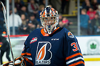 KELOWNA, BC - DECEMBER 27:  Dylan Garand #31 of the Kamloops Blazers stands at the bench during a time out in first period against the Kelowna Rockets at Prospera Place on December 27, 2019 in Kelowna, Canada. (Photo by Marissa Baecker/Shoot the Breeze)