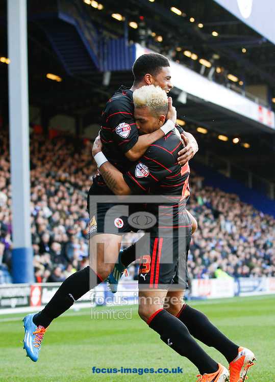 Daniel Williams of Reading celebrates with Garath McCleary of Reading (L) after scoring their first goal during the Sky Bet Championship match at the Loftus Road Stadium, London<br /> Picture by Andrew Tobin/Focus Images Ltd +44 7710 761829<br /> 16/02/2014