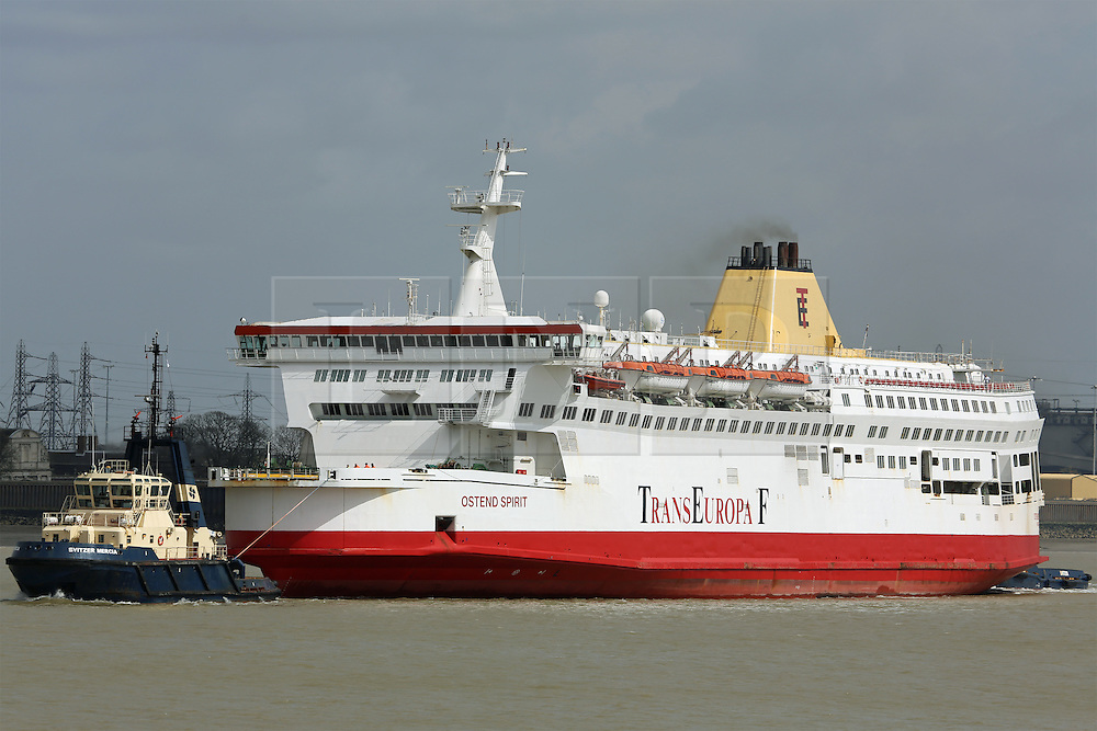 © Licensed to London News Pictures. 01/02/2014. File image of Ostend Spirit arriving at Tilbury on April 17th 2013. A video capturing the moment a former cross channel ferry was beached in Turkey at a breakers yard has gone viral. Over half a million views have been racked up showing the former Pride of Calais, latterly Ostend Spirit, crash on to the beach at the yard in Aliaga, Turkey. These images show her on the Thames from where her final journey started. She was laid up at Tilbury for 6 months before being sent to scrap. The viral video is at https://www.youtube.com/watch?v=QYltdonj2iE. Two other videos show the dramatic beaching from the perspective of someone on board and can be found here http://onthethames.net/2014/02/01/video-shows-dramatic-beaching-pride-calais/ Credit : Rob Powell/LNP