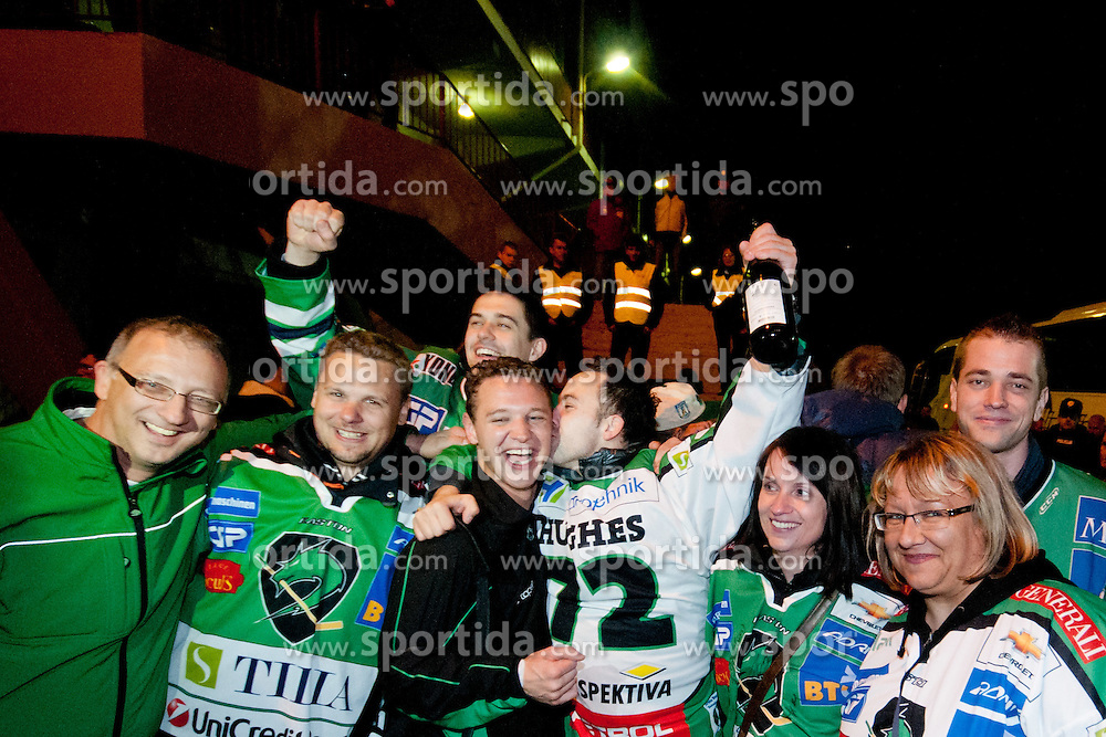 Celebration with fans and players after ice-hockey match between HK Acroni Jesenice and HDD Tilia Olimpija in fourth game of Final at Slovenian National League, on April 2, 2012 at Dvorana Podmezaklja, Jesenice, Slovenia. HDD Tilia Olimpija won 5:2 and become national champions in season 2011/12. (Photo By Matic Klansek Velej / Sportida.com)