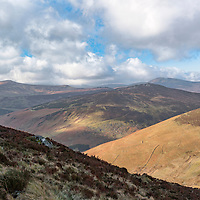 Mountains and valleys of County Wicklow, Ireland, on a very windy and cold day