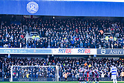 Leeds United players huddle during the EFL Sky Bet Championship match between Queens Park Rangers and Leeds United at the Kiyan Prince Foundation Stadium, London, England on 18 January 2020.