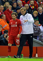 LIVERPOOL, ENGLAND - Thursday, March 10, 2016: Liverpool's manager Jürgen Klopp prepares to bring on substitute Joe Allen during the UEFA Europa League Round of 16 1st Leg match against Manchester United at Anfield. (Pic by David Rawcliffe/Propaganda)
